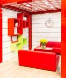 Florero de tulipanes amarillos en sala de estar moderna Fotos de archivo libres de regalías