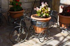 Florero decorativo de la bicicleta con las flores Fotos de archivo