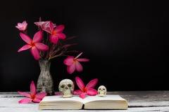 Florero del cráneo del libro de las flores Imagenes de archivo