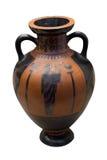 Florero del griego clásico en negro sobre de cerámica rojo Fotografía de archivo