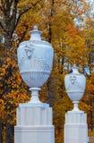 Floreros antiguos en el callejón del parque de Peterhof Imagen de archivo