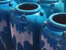 Floreros azules Imagen de archivo libre de regalías