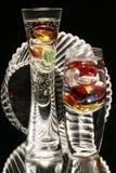 Floreros de cristal con el tazón de fuente Fotografía de archivo libre de regalías