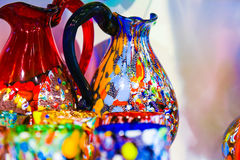 Floreros de Murano y vidrios de consumición Fotos de archivo libres de regalías