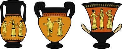 Floreros del utensilio tres del griego clásico Fotografía de archivo