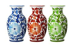 Floreros florales de la porcelana china imagenes de archivo