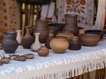 Floreros y potes de la arcilla Foto de archivo