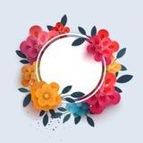 Floresça a composição com o texto em um círculo ilustração do vetor