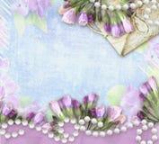 Floresça cumprimentando o cartão retro com lugar para seu texto Fotografia de Stock Royalty Free