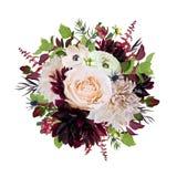 Floresça em volta do ramalhete da grinalda da dália cor-de-rosa das flores de Rosa Borgonha ilustração royalty free