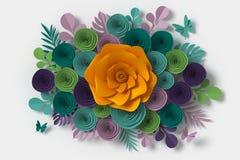 Floresça o estilo de papel, rosa colorida, ofício de papel floral, mosca do papel da borboleta no fundo branco, rendição 3d, com  imagens de stock royalty free