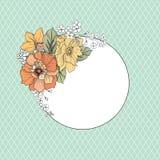 Floresça o frame Fundo floral do vintage com cartão ilustração stock