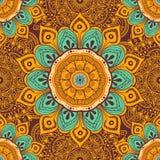 Floresça o fundo colorido da mandala para cartões, cópias, matéria têxtil e livros para colorir Teste padrão sem emenda Imagem de Stock