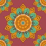 Floresça o fundo colorido da mandala para cartões, cópias, matéria têxtil e livros para colorir Teste padrão sem emenda Fotos de Stock Royalty Free