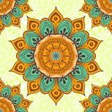 Floresça o fundo colorido da mandala para cartões, cópias, matéria têxtil e livros para colorir Teste padrão sem emenda Foto de Stock