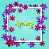 Floresça o quadro da mola com borda e sombra quadradas Foto de Stock Royalty Free