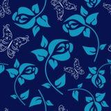 Floresça o teste padrão sem emenda com rosas em um fundo azul ilustração royalty free