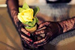 Floresça a rosa do amarelo nas mãos da menina nas luvas Fotos de Stock Royalty Free