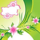 Flores à moda cor-de-rosa no fundo verde abstrato Fotografia de Stock Royalty Free