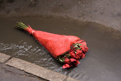 Flores abandonadas en un camino Foto de archivo libre de regalías