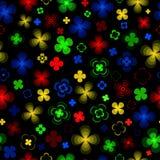 Flores abstractas coloreadas en un fondo negro libre illustration