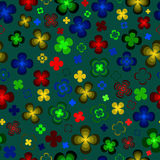 Flores abstractas coloreadas en un fondo verde libre illustration