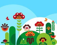Flores abstractas coloridas con las mariposas -2 Imagen de archivo libre de regalías