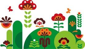 Flores abstractas coloridas con las mariposas -3 Fotografía de archivo