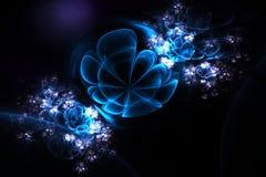 Flores abstractas 3d en una esfera de cristal Fractal en colores azules, violetas y blancos Fotografía de archivo libre de regalías