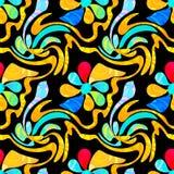 Flores abstractas de la pintada en un modelo inconsútil del fondo negro stock de ilustración