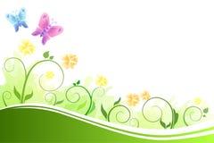 Flores abstractas del fondo verdes y mariposas azules y rosadas del vuelo amarillo Imagen de archivo