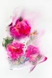 Flores abstractas del rosa de la acuarela Fotos de archivo