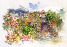 Flores abstractas en la pared, pintura de la acuarela del tejado Primavera multicolora Foto de archivo libre de regalías
