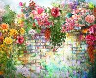 Flores abstractas en la pintura de la acuarela de la pared Foto de archivo libre de regalías