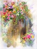 Flores abstractas en la pintura de la acuarela de la pared Primavera multicolora Fotos de archivo