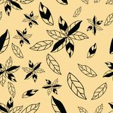 Flores abstractas exhaustas de la mano o modelo inconsútil del backgound amarillo libre illustration