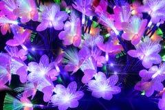 Flores abstractas que brillan intensamente en un fondo oscuro Foto de archivo libre de regalías
