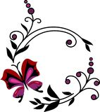 Flores abstractas rojas con las mariposas -2 Foto de archivo
