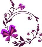 Flores abstractas rosadas con las mariposas -1 Fotografía de archivo
