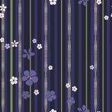 Flores abstractas y tiras blancas y púrpuras del oro con los diamantes ilustración del vector