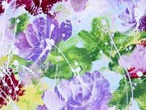 Flores abstratas da pintura acrílica na lona Imagem de Stock