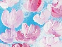 Flores abstratas da pintura acrílica na lona Foto de Stock Royalty Free