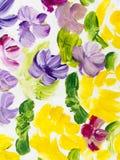 Flores abstratas da pintura acrílica na lona Fotos de Stock