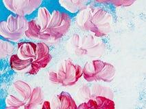 Flores abstratas da pintura acrílica na lona Abstrac criativo Imagens de Stock Royalty Free
