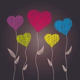 Flores abstratas do coração Fotografia de Stock Royalty Free