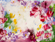 Flores abstratas, fundo da arte, pintura da textura Fotos de Stock Royalty Free