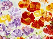 Flores abstratas, fundo pintado à mão criativo Imagem de Stock Royalty Free