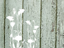 Flores abstratas na textura de madeira pintada velha do vintage Fotos de Stock Royalty Free