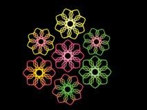 Flores abstratas no preto Ilustração Royalty Free