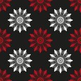 Flores abstratas vermelhas e brancas no teste padrão sem emenda do fundo preto Fotos de Stock Royalty Free